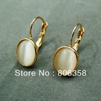 18KRGP Gold Classic Design cat's eye  Earrings FREE SHIPPING!