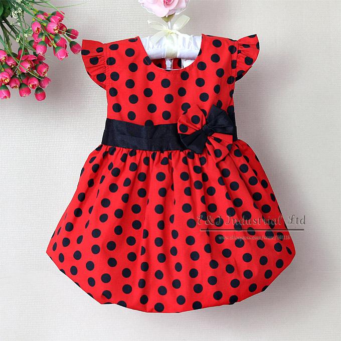 Платья в черный горошек для девочек