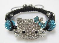 Factory Price Cheap 10pcs/lot Kids Children Baby Crystal Bracelets Bangles Gold Silver Hello Kitty Shamballa Bracelets KD02