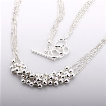 N002 Silver Plated Beads Necklace( Min Order $15 Mix order)Free Shipping(China (Mainland))