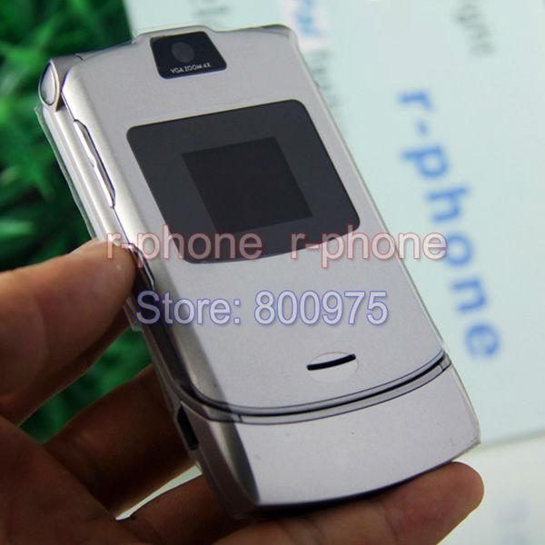 Refusbiehd Original Motorola Razr V3 Mobile Cell Phone Unlocked 2G GSM Unlocked Arabic Russian Keyboard(China (Mainland))