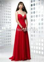 2014 Hot Sale A-Line Sexy Elegant V-neck Spaghetti Strap Chiffon and Satin with Beading Mermaid Prom Dress 20120617