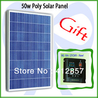 PV solar panel kits 50w poly crystalline solar cell module + ship one 10A 12V / 24v charge controller as gift