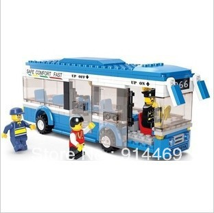 2012  free  shipping  Christmas gift small ruban city single bus  educational building blocks children  toy bricks