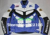 Free shipping 1PCS Honda Racing protection PU leather Jacket.Motocross jacket.motorcycle,Moto clothing Blue