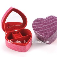 Free shipping High-quality PU Heart Jewelry Cosmetic Storage Box Case Suede fabric lining/base with mirror wedding gift