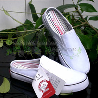 2pairs White canvas strapless shoes DIY hand-painted pictture and logo  casual shoes