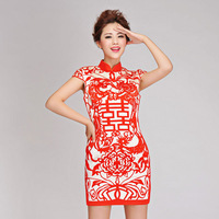 2014 new Fashion personality vintage dress /paper cutting chinese style dress/ bridal evening dress/ short qipao