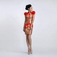 2014 new dress/ flower fashion dress/ red flower bridal short qipao/cheongsams/ short dress