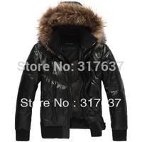 Holiday Sale Men's Genuine Sheepskin Leather Down Coats Black Short Jackets For Winter With Detachable Raccoon Dog Fur Trim Hood