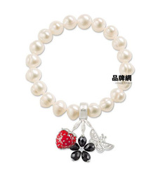 Charm Bracelet - White Freshwater Cultured Pearl crafted in 925 Silver Bracelet & Strawberry, five flower, butterfly TS XB002(China (Mainland))
