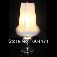New  table lamp  dia 28cm*h 80cm feather fabric living room lights bedroom lamp +Free shipping
