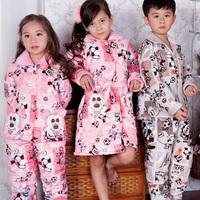 Bamboo winter coral fleece cotton-padded child sleep set  child thickening lounge clothing