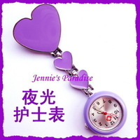 Luminous nurse table nurse pocket watch clip table heart purple clip pin