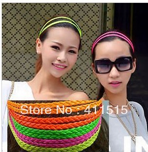 2013 Free shipping ladies Double PU leather hairband fashion hair hoop,stylish headband (TS-18) 60pcs(China (Mainland))