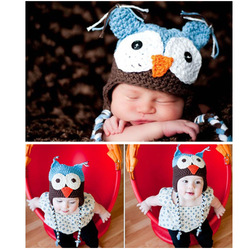 Handmade Crochet Knit Ear Hat Cap Photograph Toddler Baby Child Owls Beanie Warm[060301](China (Mainland))
