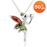 2 colors 18K white gold plated austrian crystal rhinestone fairy girl necklace pendant fashion jewelry holiday sale 4026