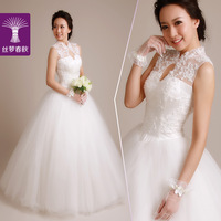 2014 spring new/ turtleneck elegant embroidered lace train beading princess dress wedding dress