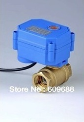 DN15,1/2&quot; Brass Mini Electric Ball Valve 3-6V/12V/24v ,control way CR01/CR02/CR05(China (Mainland))