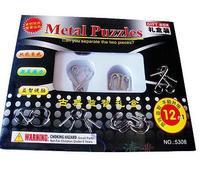 Free shipping of 12pcs metal steel Baguenaudier  Metal Ring Brain Teaser Puzzle IQ Test Toy