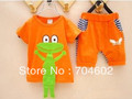 New Baby Clothing Set boy &amp; girl short sleeve t shirt &amp; baby pants Set Lovely frog modelling 4sets=8pcs/lot Free Shipping C002
