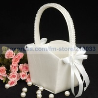 Free Shipping Wedding Ceremony Accessories Party Stuff Supplies Personalised Pearl Square Flower Girl Basket for Wedding