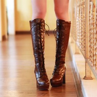 2012 platform slip-resistant fashion boots thick heel over-the-knee long boots high-heeled boots