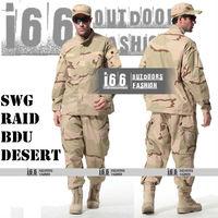 Free shipping SWG Raid BDU Desert Uniform suit sets BDU Military Combat Uniform CS Training Garment sets Shirt + Pants(AU-12038)
