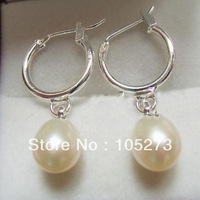 New Arriver Chirstmas Jewellery ! Charming White AA 7-8MM Genuine Freshwater Pearls Earrings 18K Gp Hook New Free Shipping