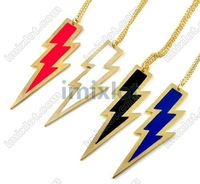 Latest Punk Gothic Enamel Metal lightning Pendant Long Chain Charm Necklace Jewelry 4Colors 20pcs/lot