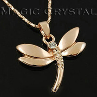 Free shipping wholesale italina personality necklace frosted panel Imitation diamond crystal delicate dragonfly pendant necklace