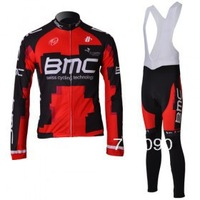Free shipping!NEW 2012 BMC red cycling long sleeve jersey and bib pants set/bicycle clothes/Ciclismo jersey