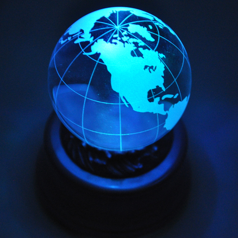 Laser sculpture globe crystal ball music box music box birthday gift memorial gift(China (Mainland))