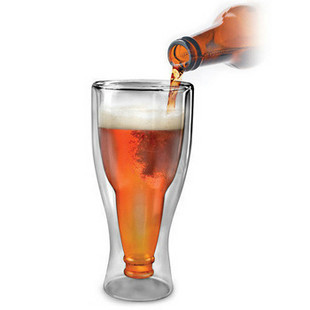 BEER DEAUX upside down beer bottle style glass wine cup, wholesale beer cup 5pcs/lot free shipping