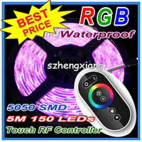 High Quality !!! 5050 RGB Led Lighting SMD Strip Light Waterproof 5M 150LEDs/Roll + Wireless Touching Panel RF Remote Controller