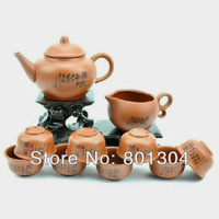 Special Offer! Purple Clay Tea Set, Purple Grit Teapot Tea Cups, Chinese Violet Arenaceous Gift Suit Free Shipping