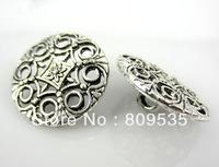 Free Shipping 50Pcs Tibetan Silver Tone Metal Pierced Buttons 18mm