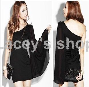 Sleeve Black Dress on Open Back Dress Club Dress Evening Dress Free Size Black And Red S002