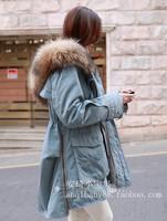 Winter medium-long Army Green overcoat outerwear large raccoon fur collar wadded jacket cotton-padded jacket female