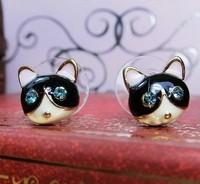 Lovely Cat Stud Earrings With Blue Rhinestone Black Small Earrings Free Shipping