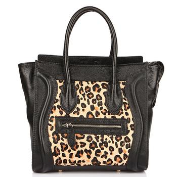 HOT new arrive high quality women's horse fur leopard genuine leather handbag smiley bag Promotion!1
