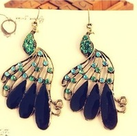 Sunshine jewelry store vintage rhinestone peacock earrings E329 ( $10 free shipping )