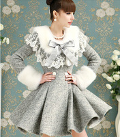 Free shipping S-XL Manufacturers supply Women's Gray double-breasted winter thick wool coats and jackets F7733