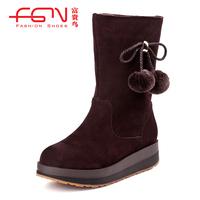 FUGUINIAO women's shoes boots suede cowhide platform outsole snow boots medium-leg boots g29c176fc