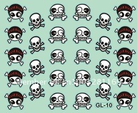 Free shipping Item No. GL-10,2012 new GL Skull shapes Nail Stickers for wholesale