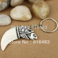 free shippong fashion jewelry 20pcs white turtle head yak bone key chains keychain