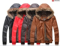 2012 new style winter and cashmere thick warm fur Korean men locomotive slim leather jacket coat