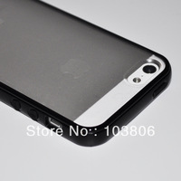 Black Edge TPU Frosted Clear Back Plastic Cover Full Case for iPhone 5 5G New