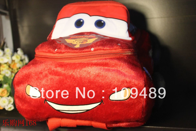 "Free Shipping EMS 50/Lot Pixar Cars 2 McQueen 12"" Plush Backpack - Kids Bag Wholesale Christmas Gift(China (Mainland))"