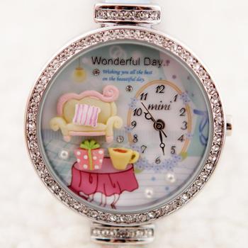 Mini watch female popular rhinestone sheet princess sofa